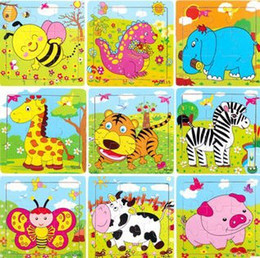 Wholesale Kid Toy Animal Jigsaw - Wholesale-Educational Toys 9 pieces wooden animal jigsaw puzzle for kid Children's Day gift free shipping
