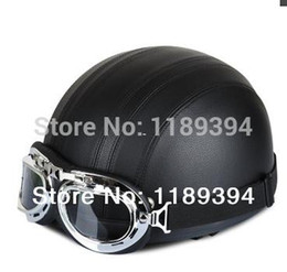 Wholesale Vespa Scooter Helmets - New Scooter Half Vespa Motorcycle Open Face Full Matt Black Helmet & Goggles Free Shipping