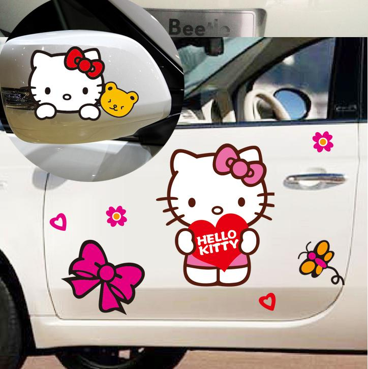 Hello Kitty Cute Cartoon Car Sticker Automobile Modification Cover - Hello kitty car decal stickers