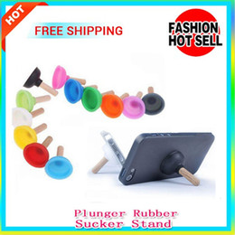 Wholesale Rubber Plungers - 100pcs lot Cellphone Plunger Rubber Sucker Stand Strong Suckers Stand Holder For Mobile Phones MP3 Player for Samsung HUAWEI IPHONE 6S S6
