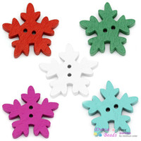 Wholesale Wood Buttons 25mm - Wood Sewing Buttons Scrapbooking Christmas Snowflake 2 Holes Mixed 25mm x 24mm,200PCs (B30931)