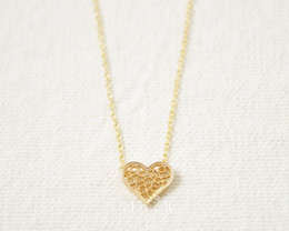 Wholesale copper filigree necklace - 10pcs lot ,Gold and Silver Filigree Heart Necklace,cute necklace ,tiny brass necklace XL041