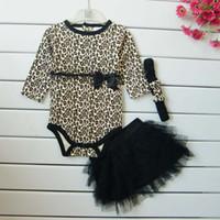 bebek leopar romper tutu toptan satış-Toptan-Ücretsiz nakliye Moda Leopar bebek bodysuit uzun kollu romper + dantel TUTU etek + bow kafa kızlar 3 adet giyim setleri L13