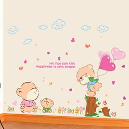 Wholesale Romantic Teddy Bears - Teddy Bear Cartoon Removable Wall Stickers environmental romantic living room bedroom children's room decorative wall stickers stickers