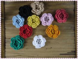 Wholesale Baby Headbands Appliques - handmade crochet applique DIY decoration 3D Flowers Flower Brooch Craft  Baby Headband Applique  Hand-made knitting wholesale 40 pcs lot