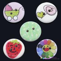 15 mm yuvarlak düğmeler toptan satış-Ahşap Boyama Dikiş Düğmeler Scrapbooking Yuvarlak 2 Delik Karışık 15mm Dia, 100 Adet (B24580)
