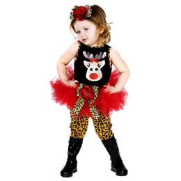 Wholesale Kids Leopard Belt - 2014 80-120cm kids christmas costume short sleeved dress + leopard pants + belt sets A001