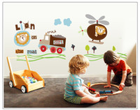 Wholesale Kids Helicopter Room Decor - Truck Helicopter Lion Removable wall sticker Wall Decals Stickers Nursery Kids Room Decor Mural Art Sticker Home Decoration