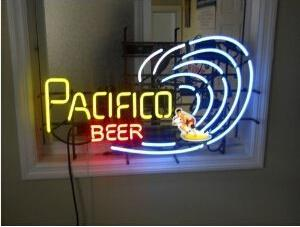 Pacifico Beer Neon Sign Real Glass Tube Bar Pub Store Business Advertising Home Decoration Art Gift Display Metal Frame Size 24''X20''