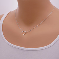 Wholesale Triangle Shaped Necklace - 10pcs lot ,Gold and silver Triangle Necklace,geo geometric shape bridesmaids gift mothers valentines day , tiny brass necklace XL068