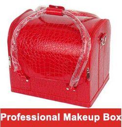 Wholesale Box Zipper Hard Case - Shoulder professional cosmetics bag fashion PU hard case makeup box 21 colors double open women make-up handbags girlfriend make up bag