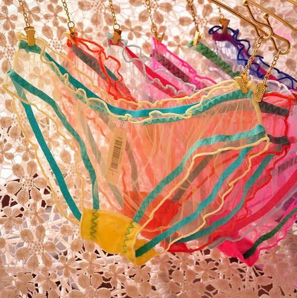 أزياء النساء فتاة الشاش الدانتيل سراويل شفافة الألوان الحلوى اللباس الداخلي ثونغ القطن سراويل داخلية الكلسون 6 قطع هدية