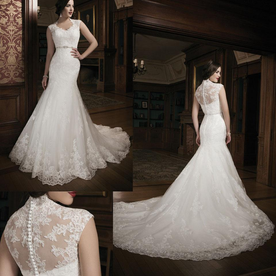 2014 New Style Wedding Dresses Scoop Capped Sleeves Sheer Back ...