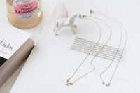 Wholesale Tiny Silver Balls - 10pcs lot ,Fashion Gold and silver pretty 3 mini ball necklaces, tiny brass necklace XL086