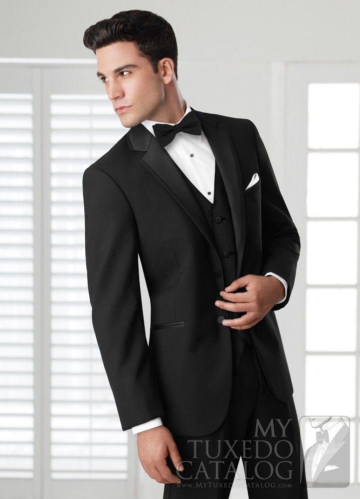 High quality two button black tuxedo groom tuxedo for Tuxedo shirt black buttons