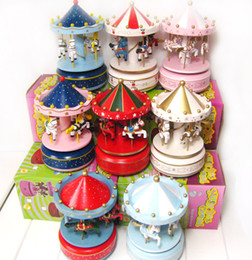 Wholesale Gift Box For Ornament - 10pcs Carousel Music Box Birthday Gift Toys For Children Bless Animated Luxury 4 Horse Go Round Musical Swings Carousels Classic Music Box