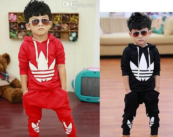 Best 2014 New Fashion Casual Sport Suits Tracksuits For Kids Long Sleeve Leisure Outwear Boys Clothing Sets Girls Set Outfit Red Black C2225 Under