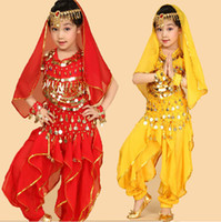 vestido de dança do ventre amarelo venda por atacado-Desgaste da Dança do ventre Vestido terno para KID Crianças Menina ROSA VERMELHO VERMELHO AMARELO Top + Calça + Cinto + Pulseira + Véu + Cabeça Cadeia
