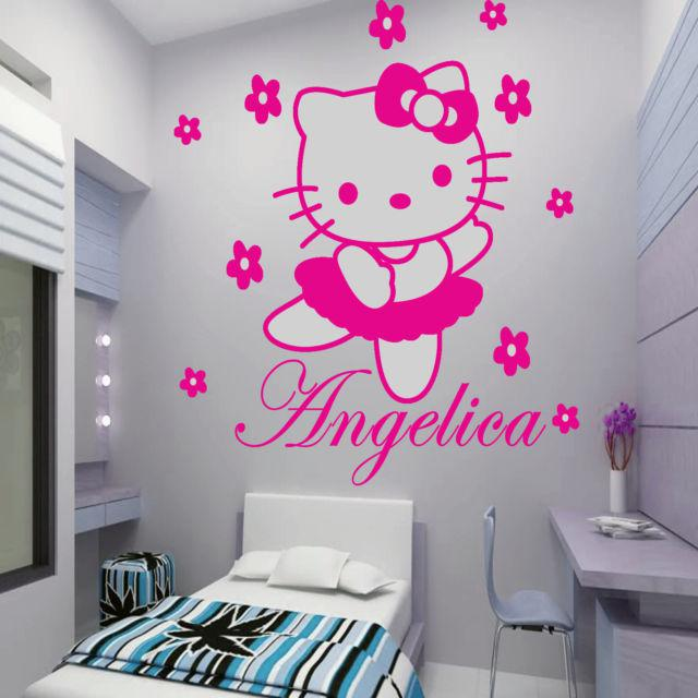HELLO KITTY With Flowers Fairy Personalized Name Cartoon Wall Sticker Art  Decal Vinyl Mural Painting Princess Girl Room Decor