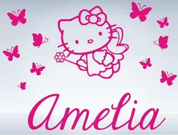 Custom Name Hello Kitty Butterflies Vinyl Wall Decals Wall - Hello kitty custom vinyl stickers