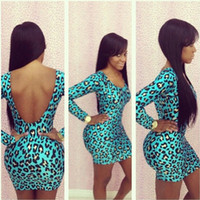 Wholesale Girls Hot Night Dresses - Women club dress long sleeve leopard backless bodycon dress western hot girl sexy clue wear dresses polyester with spandex 3 sizes A188
