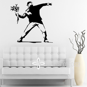 Wholesale Banksy Inspired Flower Thrower Vinyl Wall Decal Wall Sticker mural wallpaper wall art CM