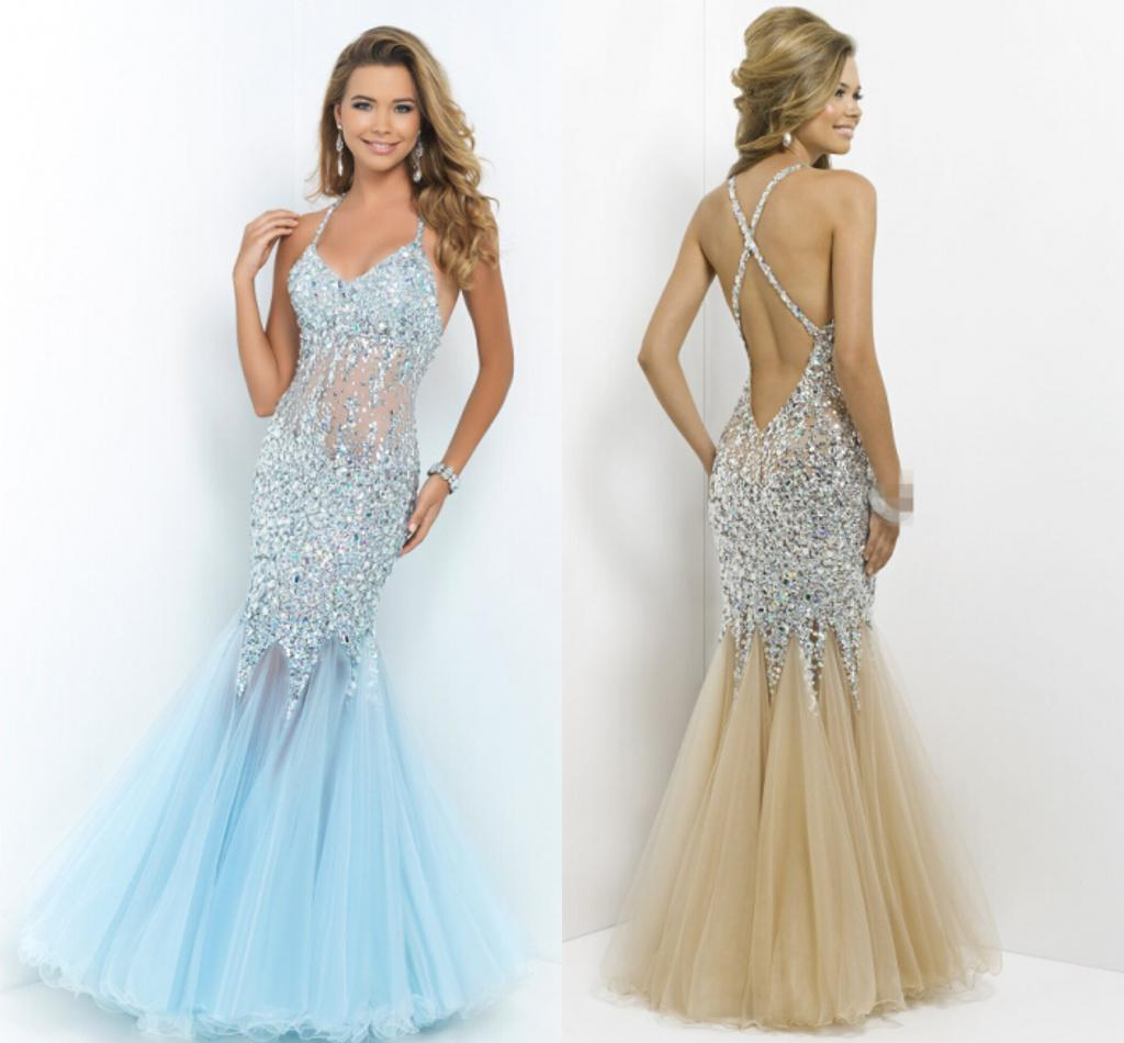 Light Blue and Champagne Dresses