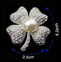 Wholesale Crystal Wedding Brooch Clover - 1.8 Inch Vintage Look Silver Plated Clear Rhinestone Diamante Ivory Pearl Clover Brooch