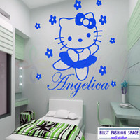 CIAO KITTY Fata Personalised Cartoon Wall Sticker Art decalcomania murale Vinyl Kids Room spedizione gratuita Large Size 45 * 60CM