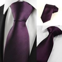 Wholesale Plum Tie - HOT SALE Neck Ties New Striped Plum Purple Men's Tie Formal Suit Necktie Wedding Holiday Gift #0024