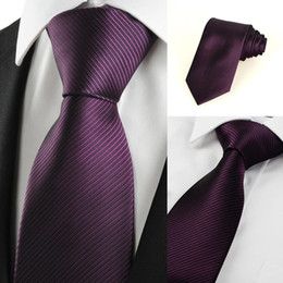 Wholesale Plum Tie - HOT SALE Neck Ties New Striped Plum Purple Men's Tie Formal Suit Necktie Wedding Holiday Gift #0024