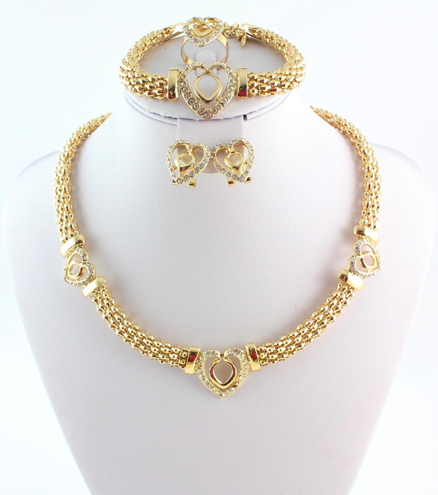 Heißer Verkauf Herz Design Kostüm Halsketten Armbänder Ohrringe Ringe Set Mode Top Qualität Afrikanische Vergoldet Frauen Brautschmuck Sets