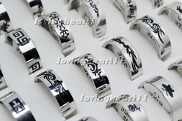 Wholesale Silver Gothic Wedding Bands - Rings Stainless Steel Black Silver Tone Wholesale Lots Punk Gothic Rings