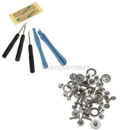 Wholesale Iphone Replacement Screws - Disassemble Repair Pry Open Tool Kit + 5 Point Star Bottom Dock Connector Screws Full Screw Set Spare Parts Replacement For iPhone 4 4G 4S