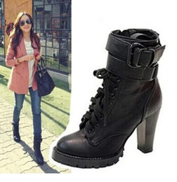 Wholesale Korean Sexy High Heels - Korean style women leather boots sexy high heel martin boots, lace up motorcycle boots thick heel Knight boots top PU Size 34 to 40 Uk7