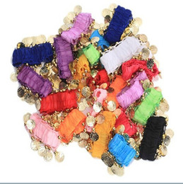 Wholesale Hand Belly Ring - Belly dance chiffon bracelet jewelry rings women costumes wear accessories for hands foot 2pcs 12 colors for chosen