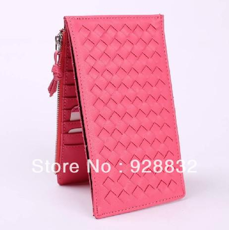 Ultra Thin Solid Color Weave Casual Long Design Fordable Multi Card Holder Women's Light Weight Long Purse Wallet Clutch Bag