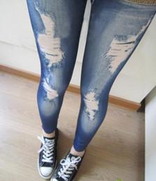 Freier Verschiffen-Großverkauf 2014 neue koreanische Art- und Weiseart- und weiseschlankes falsches Loch-nachgemachte Jeans-Eignung Leggins Frauen-Gamaschen von Fabrikanten