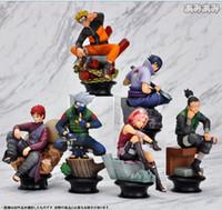 caja de figuras de anime al por mayor-set 6p Japón Anime Naruto Uzumaki Kakashi Sasuke Gaara Figura 10 cm (sin caja)