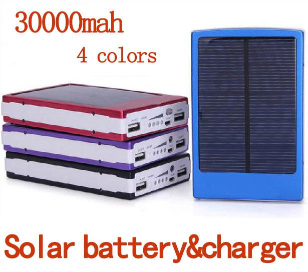 Portable 30000 mAH Solar Battery Panel External Charger Dual USB LED Charging Ports Backup Power Bank for Laptop Iphone Samsung Cell Phones