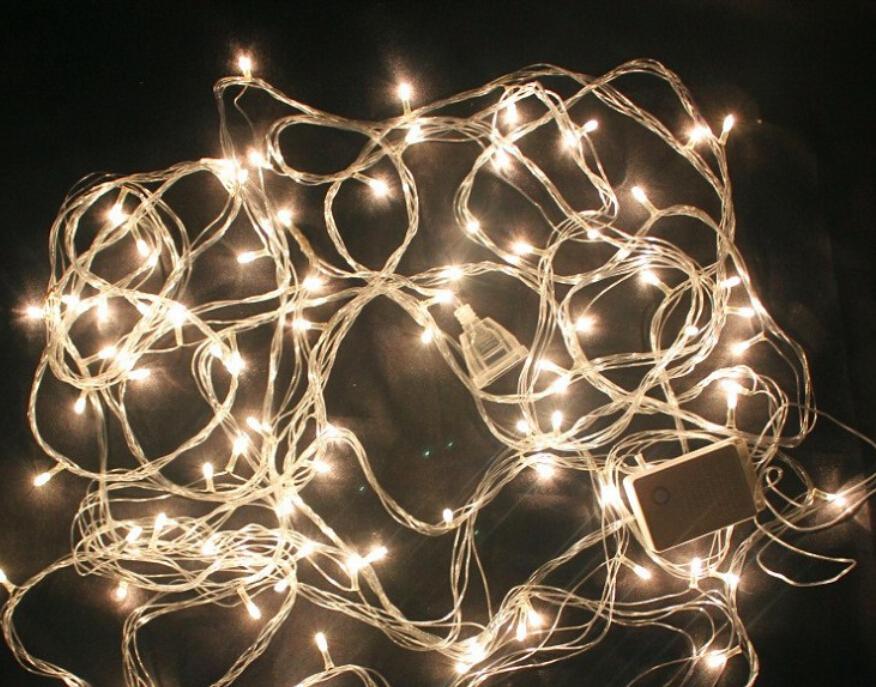 Рождественские лампочки с теплым рисом Кий огни строки \ м пушки строка свет \ декоративная подсветка \ 90 огни 10 м \ м пушки просо огни