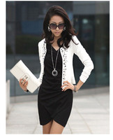 Wholesale Blazer Coats For Women - Free Shipping Black White Fashion Spring 2014 Female Coats Womens Short Jackets With Rivet for Lady's Blazer Cardigan #5855
