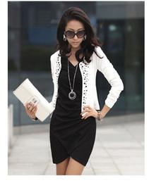 Wholesale Blazer Coats For Women - Free Shipping Black White Fashion Spring 2014 Female Coats Womens Short Jackets With Rivet for Lady's Blazer Cardigan #5855