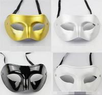 venezianische kostüme für männer großhandel-Silber Gold Weiß Schwarz Mann Halbes Gesicht Archaistic Antike Klassische Männer Maske Karneval Maskerade Venezianischen Kostüm Party Masken 50 stücke