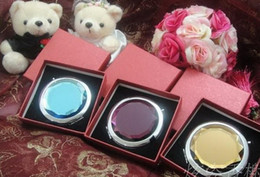 Wholesale Compact Cosmetic Mirror Wholesale - DHL Free Wedding Favor Mixed Cosmetic Pocket Compact Stainless Glass Makeup Mirrors With gift Box Can Word Logo Print Promotion Gift WF002