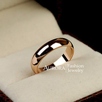 Wholesale Polish Rose Ring - 18K Rose Gold Plated Titanium Steel High Polished Ring for Men Women Couples ( US Size 4 5 6 7 8 9 10 ) FREE SHIPPING