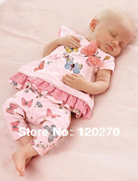 Wholesale Next Sets - Wholesale-Free Shipping Summer NEXT Baby Girls Butterfly T-shirt Dress Shorts Pants Infant Toddler Two-Piece Suits Children's Outfits Sets