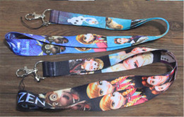 Wholesale Necklace Cotton Bag - 2015 New cartoon frozen Anna Elsa princess Necklace children key Lanyard key chains cell phone chains ID Neck Strap school bag rings gift