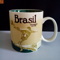 Wholesale Eco Friendly Shipping Materials - Wholesale-Free Shipping Bone China Material Starbucks style Brazil Soccer design 16OZ Starbucks City Coffee Mug