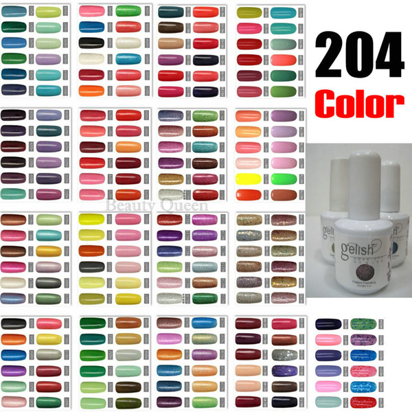 best selling * 204 Colors for choice * Soak-Off UV LED Nail Gel Polish Coat Nail Art Pure & Glitter Color Gel Acrylic NEW